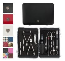 3 Swords Germany - brand quality 11 piece manicure pedicure grooming kit set for professional finger & toe nail care scissors clipper genuine leather case in gift box, Made in Solingen Germany (01665)