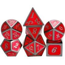 TecUnite 7 Die Metal Polyhedral Dice Set DND Role Playing Game Dice Set with Storage Bag for RPG Dungeons and Dragons D&D Math Teaching (Shiny Black and Red)