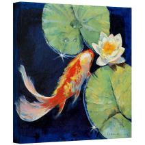 Art Wall Koi and White Lily Gallery Wrapped Canvas Art by Michael Creese, 24 by 24-Inch