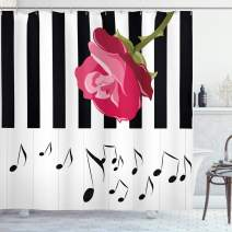 """Ambesonne Modern Shower Curtain, Hand Drawn Red Rose on Piano with Musical Notes Romantic Instrumental Art, Cloth Fabric Bathroom Decor Set with Hooks, 84"""" Long Extra, White Black"""