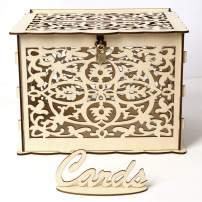 DIY Wedding Card Box with Lock Rustic Wood Card Box Wooden Gift Card Holder for Wedding Reception Baby&Bridal Shower Graduation Birthday Party