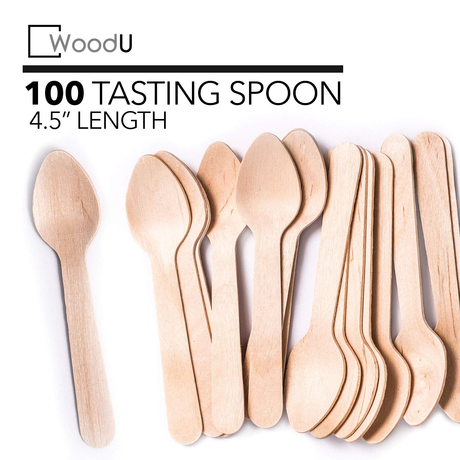"""Wooden Disposable Mini Square Taster Spoons, Eco-Friendly Biodegradable Compostable Birchwood (Pack of 100) GO Green! (4.5"""" Taster Spoon)"""
