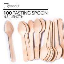 "Wooden Disposable Mini Square Taster Spoons, Eco-Friendly Biodegradable Compostable Birchwood (Pack of 100) GO Green! (4.5"" Taster Spoon)"