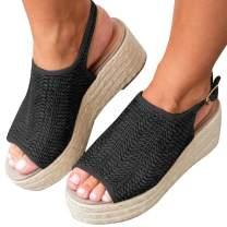 XMWEALTHY Women's Espadrilles Sandals Shoes Fashion Peep Toe Platform Wedge Ankle Strap Sandals