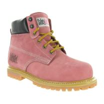 Safety Girl Steel Toe Work Boots - Light Pink -Leather, 5M
