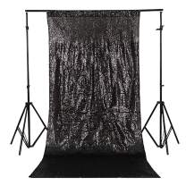 TRLYC 3Ft7Ft Black Sequin Photography Backdrop For Wedding/Party