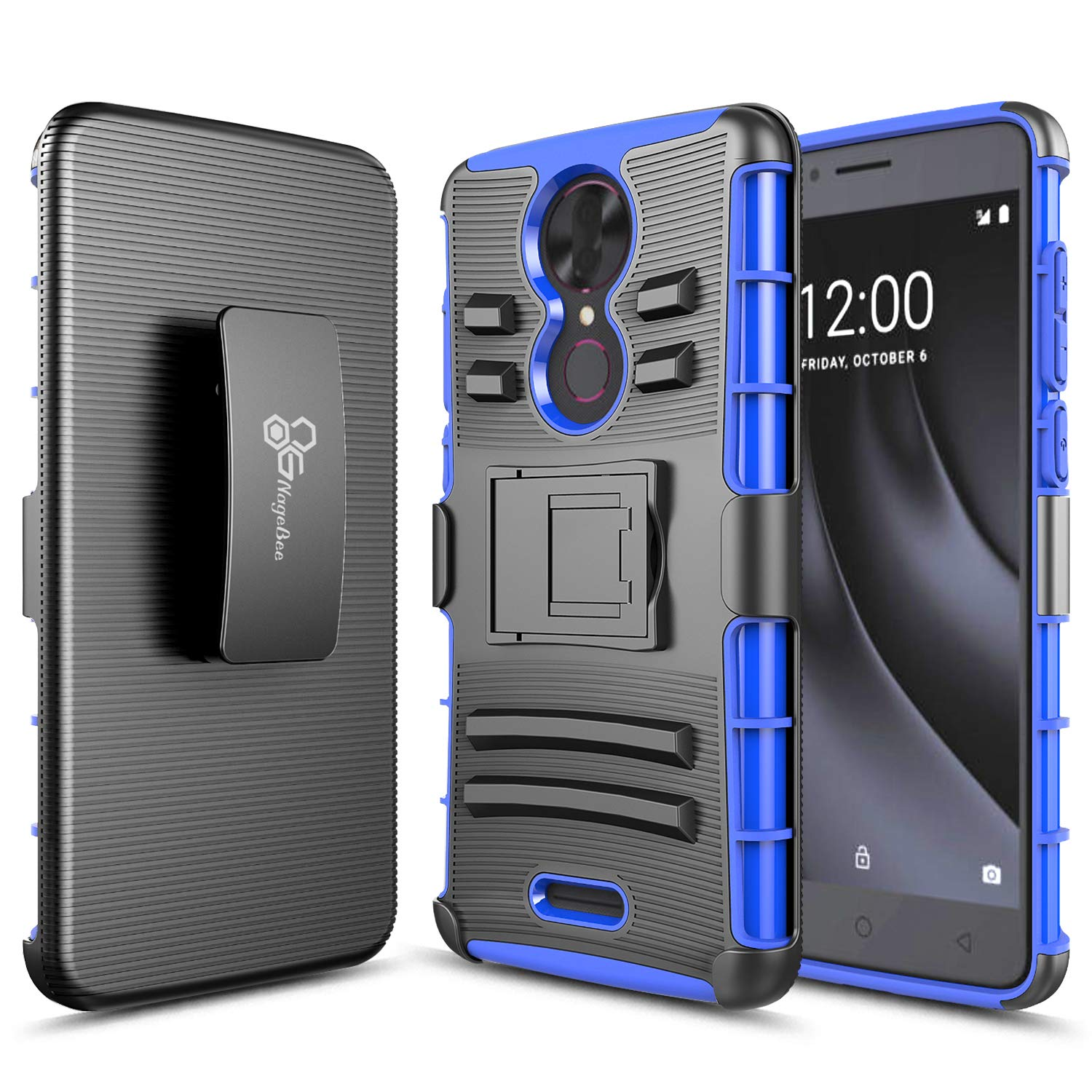 REVVL Plus Case (T-Mobile) NageBee Belt Clip Holster Defender Heavy Duty Shockproof Kickstand Dual Layer Combo Rugged Armor Durable Ultra Protection Case -Blue
