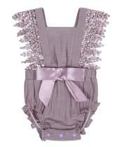 AmzBarley Infant Baby Girls Romper Ruffle Backless Bodysuit 6-24 Months
