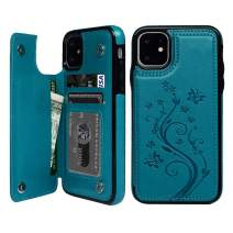 iPhone 11 Case Wallet, Case with Card Holder Embossed Butterfly Slim Folio Leather Cover Shockproof Shell with Credit Card Slot Protective Skin for iPhone 11 6.1 inch, Blue