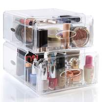 SEE ME MAXI Extra Large Clear Makeup Organizer & Drawers – Luxury Clear Makeup Storage with 4 Drawers + 10 Compartments | Spacious Organizers | 10.2 x 8.85 x 10.2 in (Clear Transparent)