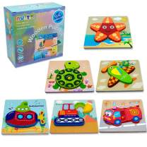 NVioToys Wooden Jigsaw Puzzle, 6PCS Preschool Early Educational Toys for Boys and Girls Match and Peg Puzzle Games Gift for Kids Toddlers (6pack-1)