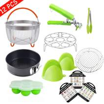 WEZVIX Pressure Cooker Accessories Set, 12 PCS Instant Pot Air Fryer Accessories Compatible with 5,6,8 QT Instant Pot, Non-stick Springform Pan, Egg Steamer Rack, Egg Bites Mold, Kitchen Tongs