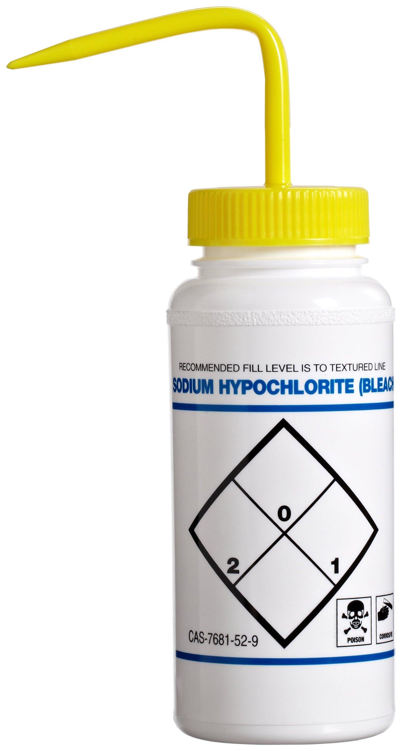 Bel-Art Safety-Labeled 2-Color Sodium Hypochlorite (Bleach) Wide-Mouth Wash Bottles; 500ml (16oz), Polyethylene w/Yellow Polypropylene Cap (Pack of 6) (F11646-0627)
