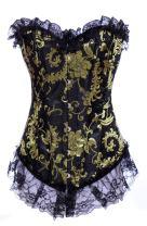 Alivila.Y Fashion Womens Vintage Brocade Overbust Lace Corset