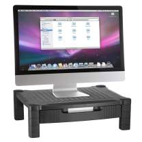 Halter Monitor Stand Riser Computer Desk Organizer with Pull Out Drawer - for Laptop, Screen, Printer, Keyboard, Tablet, Cable Management Storage - Plastic   Black