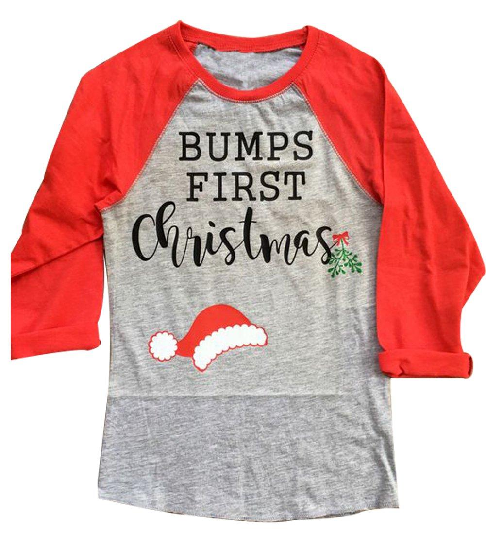 MAXIMGR Women Bumps First Christmas Print 3/4 Sleeve T-Shirt Cute Santa Hat Raglan Tees