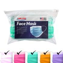 AMLIFE Face Masks Multi Color [100 Pieces Pack] Disposable Protective 3-Ply Filter - Made in USA with Imported Fabric - Convenient Zipper Bag