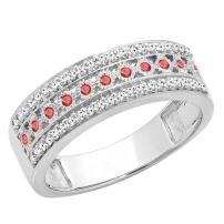 Dazzlingrock Collection 10K Round Gemstone & Diamond Ladies Anniversary Wedding Band Stackable Ring, White Gold