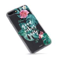 iPhone 5S Case,Cute Girly Vintage Roses Flowers Summer Hawaii Good Vibes Only Aloha Love Summer Tropical Banana Bahama Leaves Colorful Floral Beach Clear Rubber Case for iPhone 5S/iPhone SE