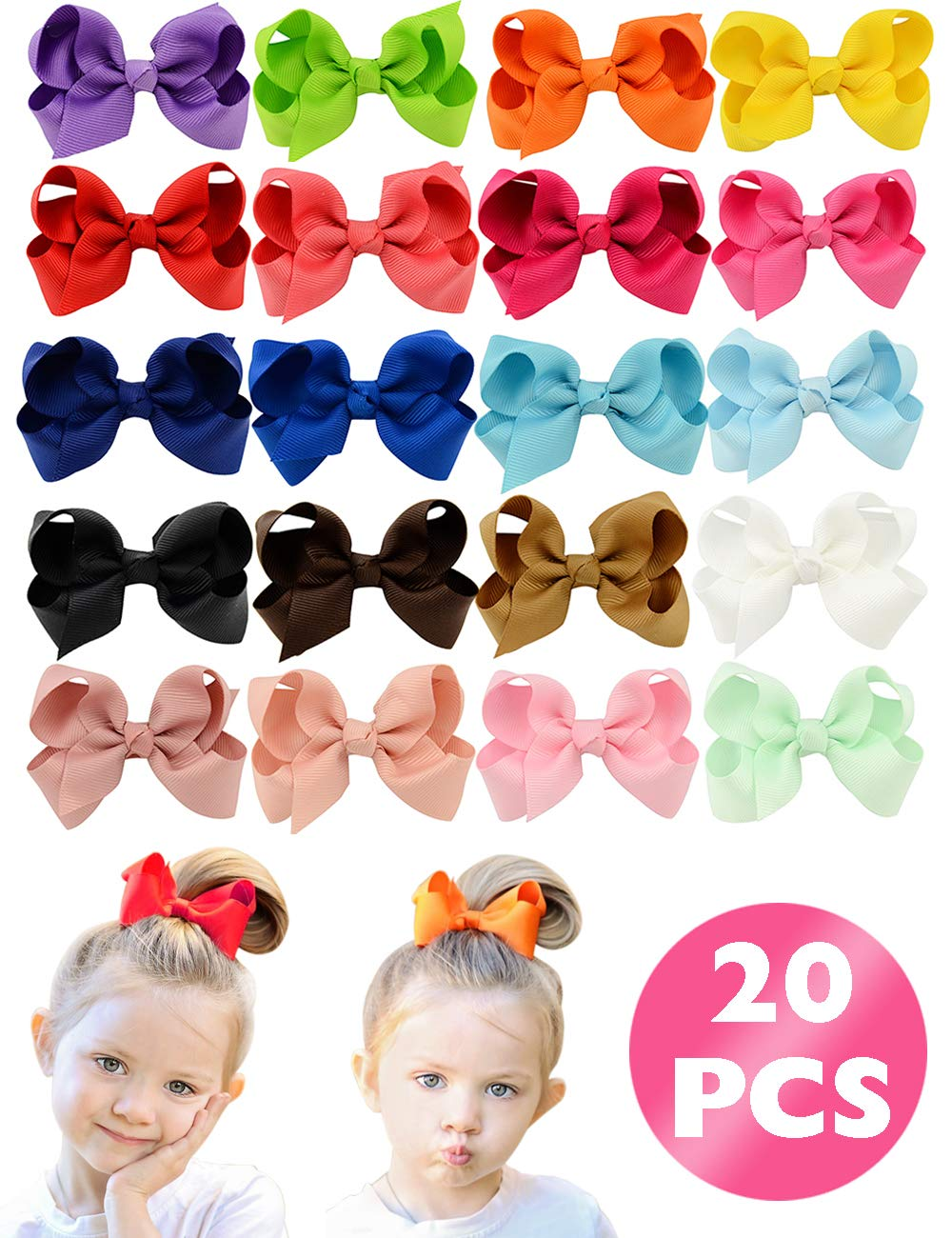 """HLIN 20 Pcs 3"""" Grosgrain Ribbon Boutique Hair Bows Alligator Clips Hand Made for Baby Girls Toddlers Kids"""