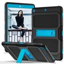 PIXIU iPad 6th / 5th Generation Cases, Heavy Duty Shockproof Full Body Rubber Protective case Cover with Kickstand for iPad 9.7 inch 2017/2018 Release Black/Blue