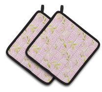 Caroline's Treasures BB7492PTHD Gemoetric Circles on Pink Watercolor Pair of Pot Holders, 7.5HX7.5W, Multicolor