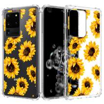 Caka Clear Case for Galaxy S20 Ultra Case Flower Clear Case Floral Pattern Design for Girls Women Girly Cute Slim Soft TPU Transparent Protective Case for Galaxy S20 Ultra 6.9 inches -Sunflower