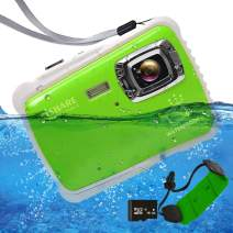 "ISHARE Waterproof Kids Camera, Underwater Digital Kids Camera 21MP Full HD 1080p Video Cute Camera 2.0"" LCD, 8X Digital Zoom, Flash Mic for Girls/Boys (Green Float Strap 16G Card)"
