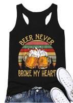 Beer Never Broke My Heart Racerback Tank Top Women Sleeveless Funny Beer Drinking Tees Vest