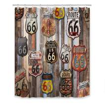 LB US Route 66 Signs Shower Curtain Vintage Garage Gasoline Station Poster Style Wood Plank Retro American Shower Curtains for Bathroom with Hooks 60x72 inch Waterproof Polyester Fabric Bathroom Decor
