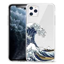 Unov Case Clear with Design for iPhone 11 Pro Max Case Slim Protective Soft TPU Bumper Embossed Pattern 6.5 Inch (Great Wave)