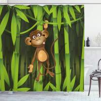 """Ambesonne Jungle Shower Curtain, Wildlife Theme with Illustration of a Monkey in The Jungle Print, Cloth Fabric Bathroom Decor Set with Hooks, 70"""" Long, Brown Green"""