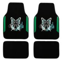 CAR PASS Embroidery Butterfly and Flower Universal Fit Car Floor Mats, Fit for Suvs,Sedans,Trucks,Cars, Set of 4 (Black and Blue)