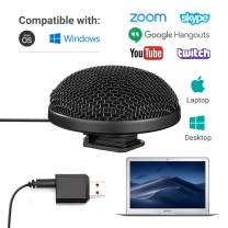 Movo Mini Stereo USB Computer Microphone with 360-Degree, 10' Range and USB Adapter Compatible with Laptop, Mac/PC - Perfect for Podcasting, Gaming, Remote Work, Conference, Livestream and Desktop Mic