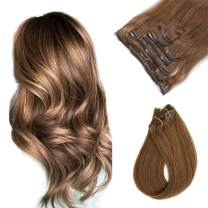 Clip in Human Hair Extensions Ash Brown Silky Straight Clip on Remy Hair Extensions Double Weft Straight Clip in Hair 7 Pieces 70 Gram Extensions for Women 20 Inch