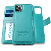 AMOVO Case for iPhone 11 Pro (5.8'') [2 in 1] iPhone 11 Pro Wallet Case Detachable [Vegan Leather] [Hand Strap] [Stand Feature] iPhone 11 Pro Flip Folio Case Cover with Gift Box Package (Aqua)