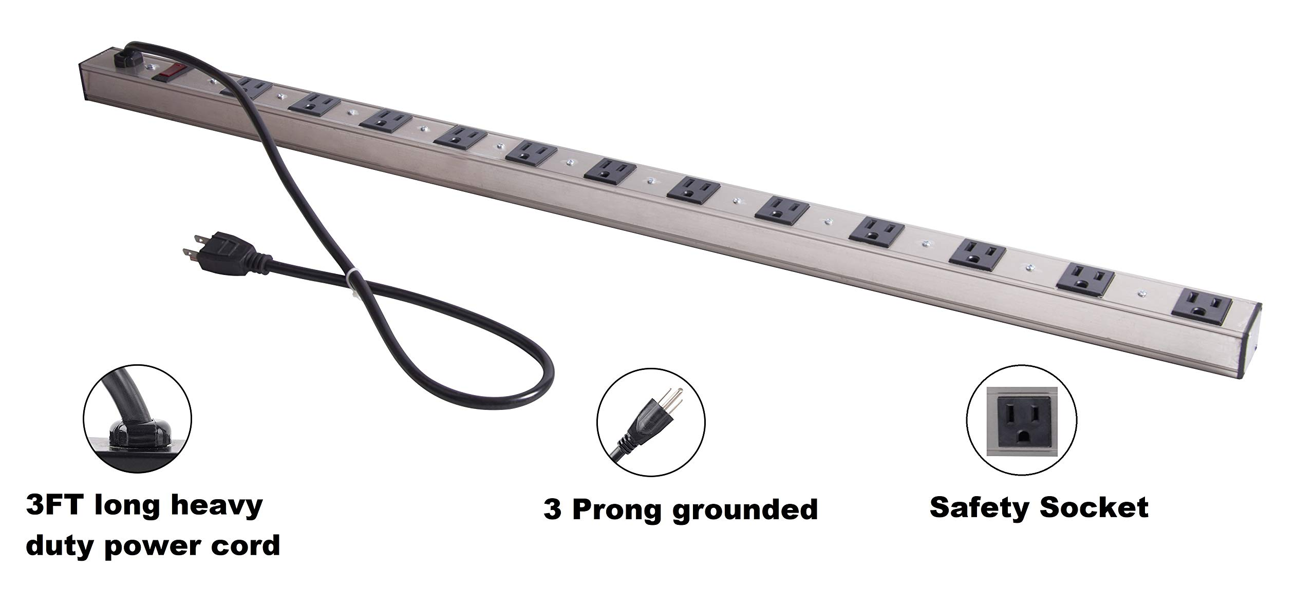 12 Outlet Aluminum Power Strip, 3-Foot Long 14 AWG Extension Cord and Circuit Breaker Rocker Switch. 15A/125V ETL Certified. Great for Home/Office/Workshop/Industrial