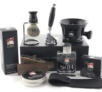 GBS Deluxe Grooming Kit-Black Shaving Mug with Knob Handle, Badger Brush, Brush Stand, 5 Blade Razor, No.84 Cologne, Sandalwood Aftershave, Wooden comb, Leather Case and 97% All Natural GBS Shave Soap