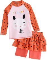VAENAIT BABY 2T-7T Kids Girls UPF 50+ UV Protection Rashguard Swimsuit Long Shirt and Shorts Set