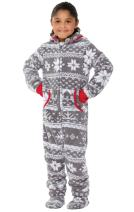 PajamaGram Big Girls' Hoodie-Footie Fleece Onesie Pajamas