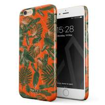BURGA Phone Case Compatible with iPhone 6 Plus / 6s Plus - Neon Orange Palm Trees Leafs Tropical Exotic Summer Green Palms Cute Case for Women Thin Design Durable Hard Plastic Protective Case