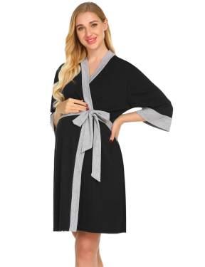 Womens Maternity Robes 3 in 1 Labor Delivery Nursing Nightgown Hospital Breastfeeding Dress Bathrobes Sleepwear