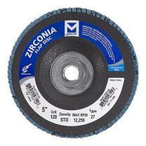 "Mercer Industries 276H120 Zirconia Flap Disc, Type 27, 5"" x 5/8"" 11 Thread, Grit 120, 10 Pack"