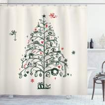 """Ambesonne Christmas Shower Curtain, Cloth Fabric Bathroom Decor Set with Hooks, Wreath and Stockings, 70"""" Long"""
