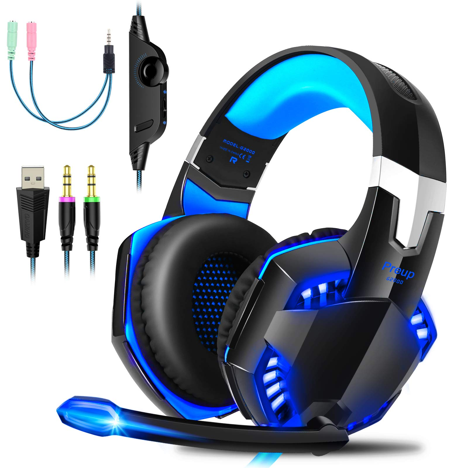 Gaming Headset PS4 Gaming Headphones with Microphone LED Light Surround Sound, Noise Cancelling Over-Ear Headphones with Mic, Wired Headset with Microphone for Xbox one, PS5, PC, Mac