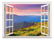 """wall26 A Peaking View Through The Forest of The Morning Sunrise - Wall Mural, Removable Sticker, Home Decor - (36""""x48"""", Beautiful View of Mountain)"""