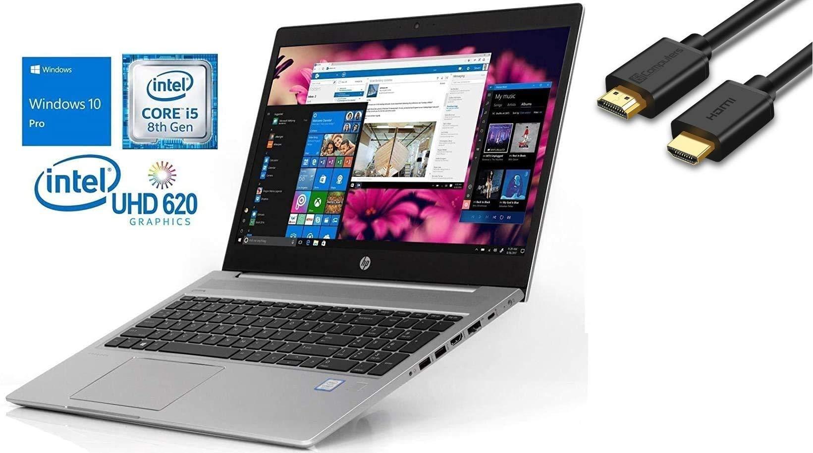 "2019 HP Probook 450 G6 15.6"" HD Business Laptop (Intel Quad-Core i5-8265U, 8GB DDR4 RAM, 256GB PCIe NVMe M.2 SSD, UHD 620) USB Type-C, RJ45, HDMI, Windows 10 Pro Professional"