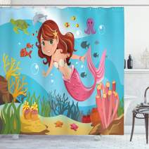 "Ambesonne Underwater Shower Curtain, Fairy Mermaid Swimming Underwater in The Ocean Smiles Cheerful Happiness Theme, Cloth Fabric Bathroom Decor Set with Hooks, 70"" Long, Blue Pink"