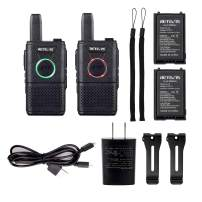 Retevis RT18 Walkie Talkies Rechargeable FRS Radios UHF 16 Channel Dual PTT VOX Super Thin Small 2 Way Radios (2 Pack)