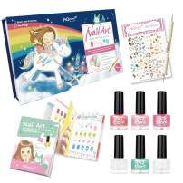 AQMORE Non Toxic Water Based Peel Off Nail Polish - 5 Colors + Topcoat, Dotting Tool, Nail Stickers, Nail Art Tutorial Booklet (0.20 fl oz/Bottle) (Dream in Color Gift Box Set 2)
